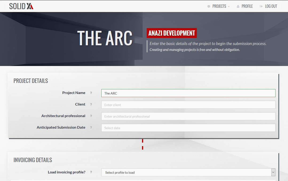 Creating new projects is quick and easy. Simply complete the new project form.