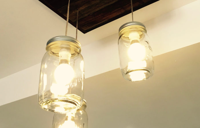 LEDs at Solid Green Offices encased in recycled jars